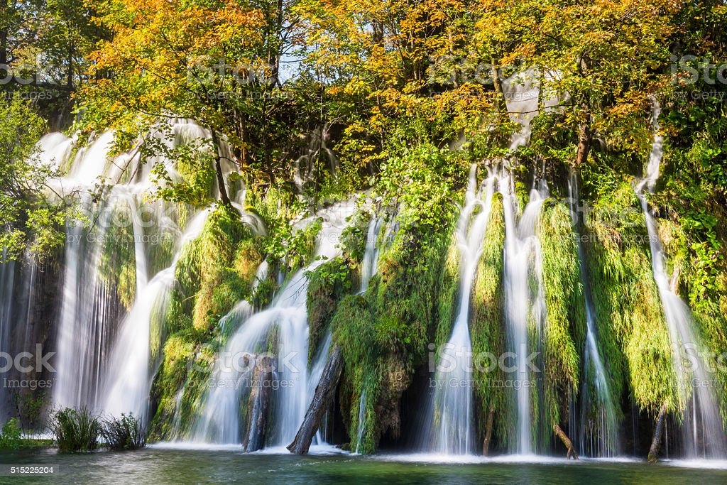Plitvice Lakes National Park in Autumn, Croatia stock photo