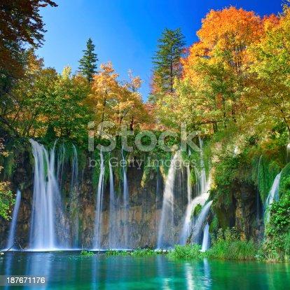 Plitvice national park in Croatia (Hrvatska) pictured in autumn on a crisp beautiful morning.