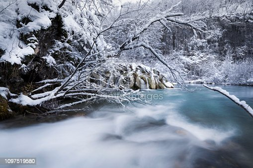 Plitvice lakes of Croatia (Hrvatska) - national park in winter  forest trees nature postcard waterfall