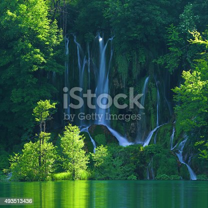 Plitvice lakes of Croatia (Hrvatska) - national park in the summertime, gorgeous little waterfall in the Upper lakes