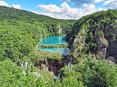 Aerial view of beautiful Plitvice Lakes, Croatia