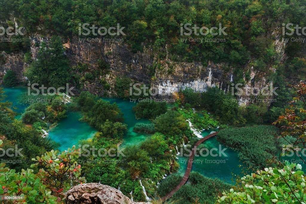 Plitvice Lakes. Quran River with waterfalls view from the top stock photo