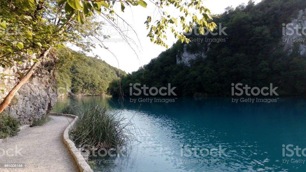 Plitvice lakes - Small path stock photo