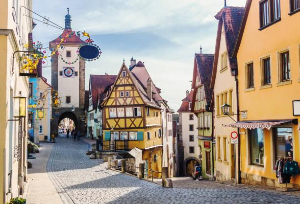 Ploenlein in Rothenburg ob der Tauber in Bavaria, Germany stock photo