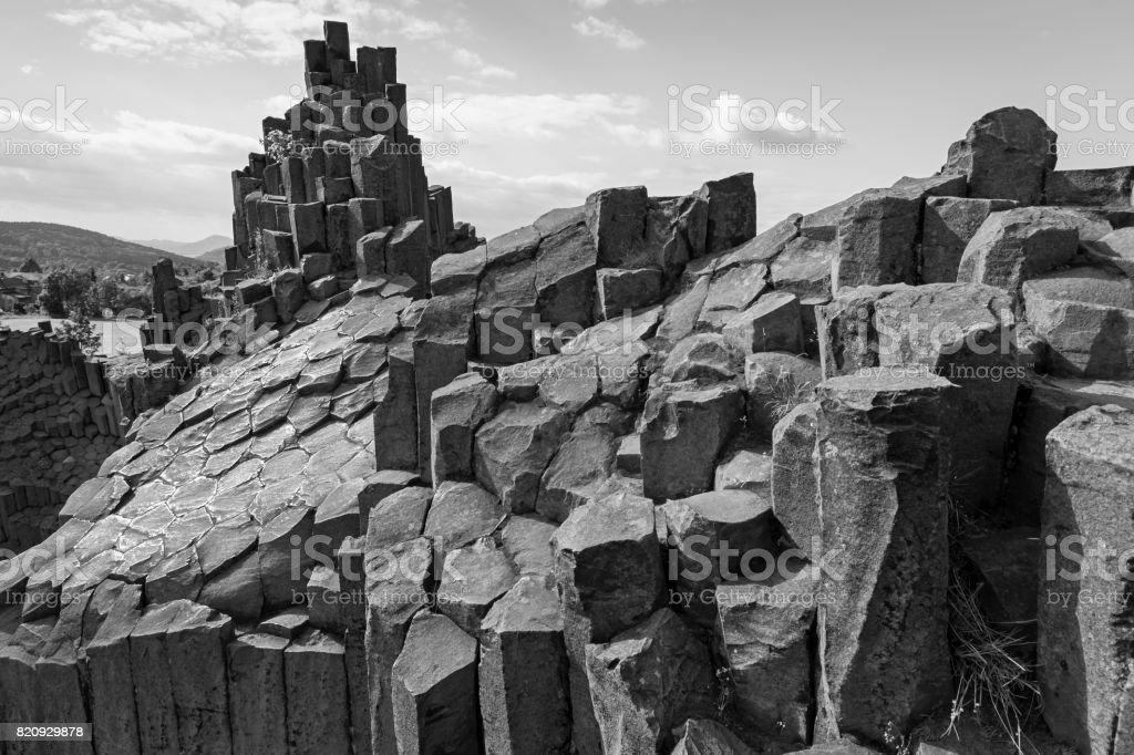Plogygonal structures of basalt columns stock photo