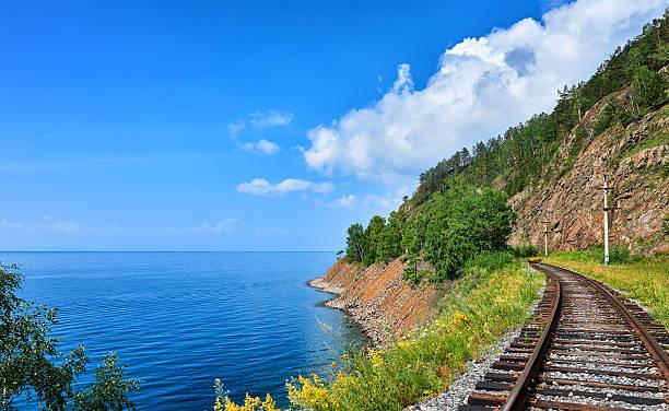 Plot Circum-Baikal railway near steep bank of Lake Baikal – Foto