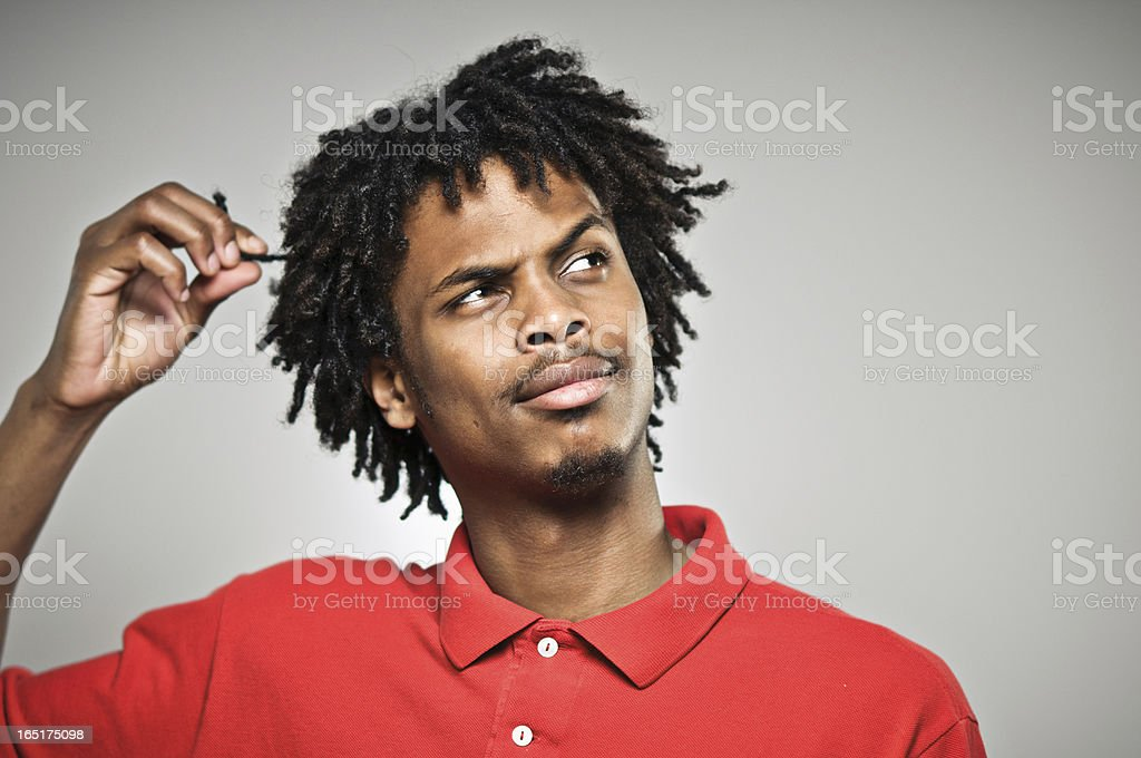 Plotting And Twisting Hair royalty-free stock photo