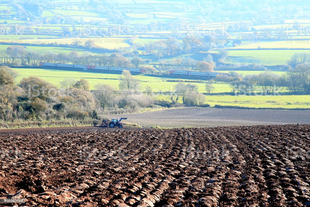 Ploughed agricultural field stock photo