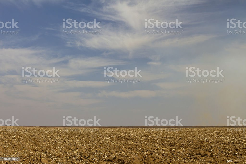 Ploughed land stock photo