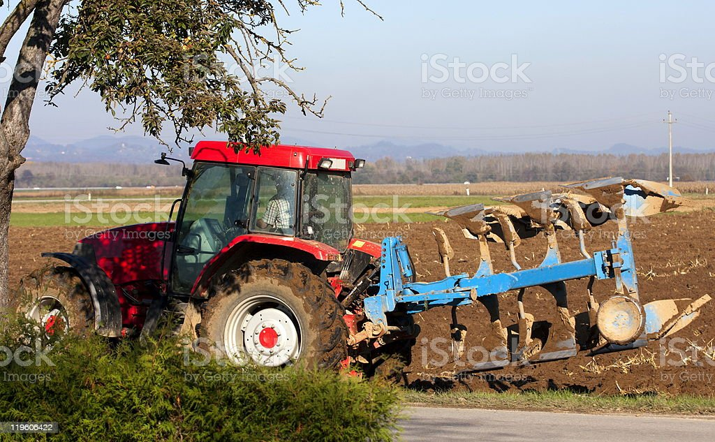 Ploughing royalty-free stock photo