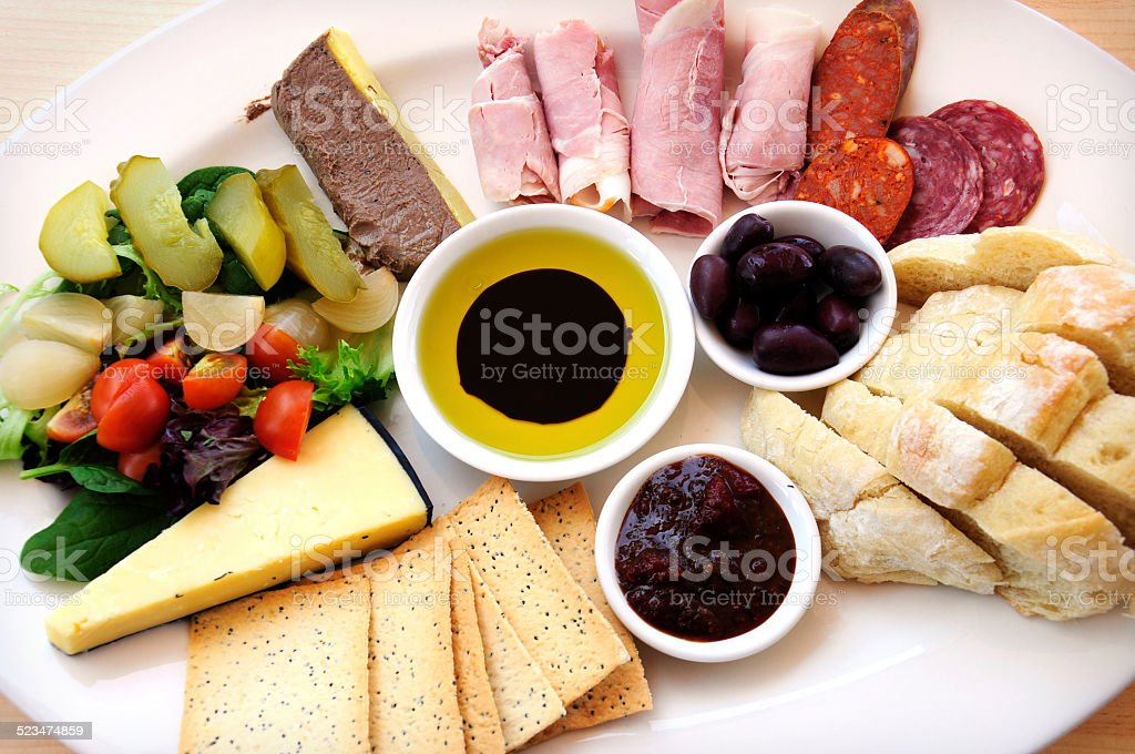 Ploughmans Lunch antipasto style platter stock photo