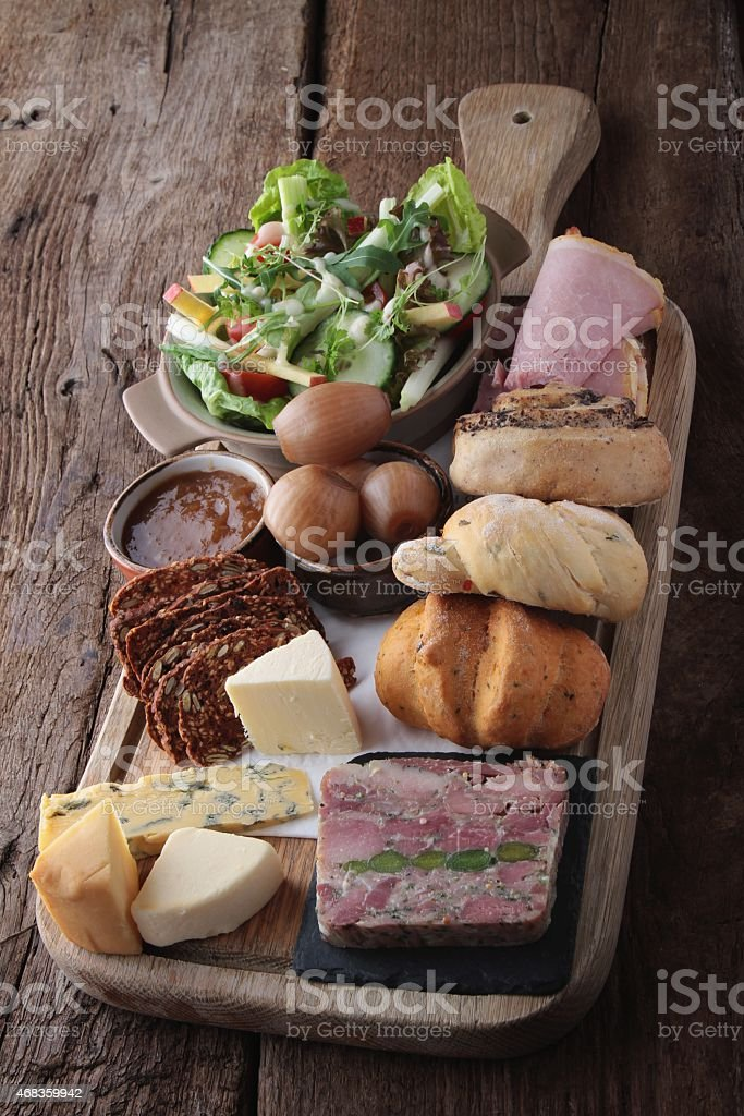 ploughmans lunch salad platter royalty-free stock photo