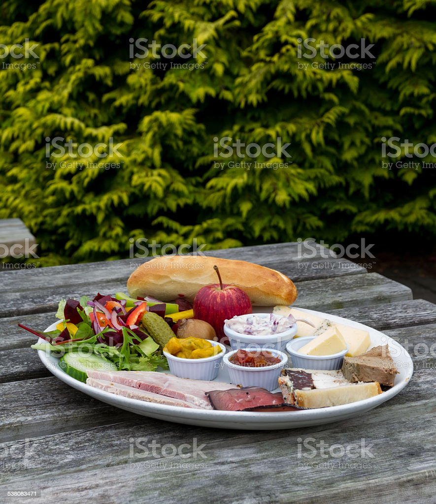 Ploughmans Lunch Server Outside. stock photo