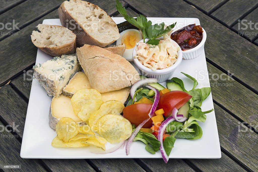 Ploughmans lunch with cheese stock photo