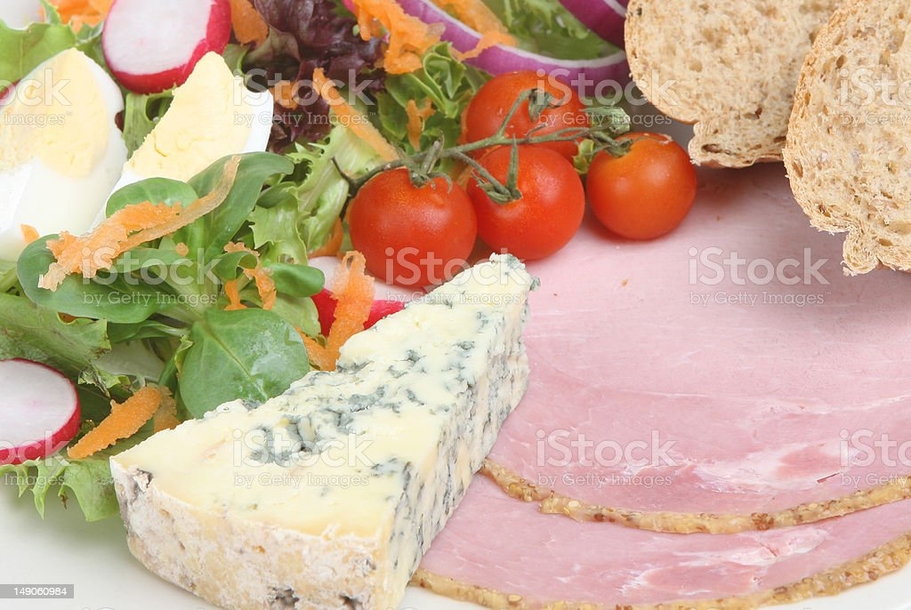 Ploughmans Lunch with Stilton stock photo