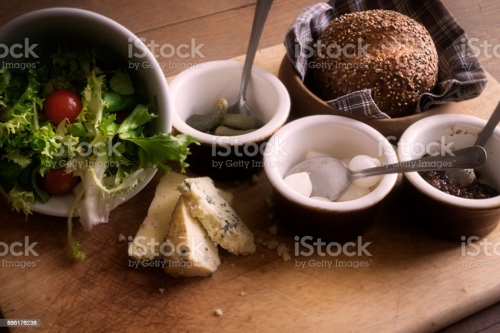 Ploughmans Salad with Bread stock photo