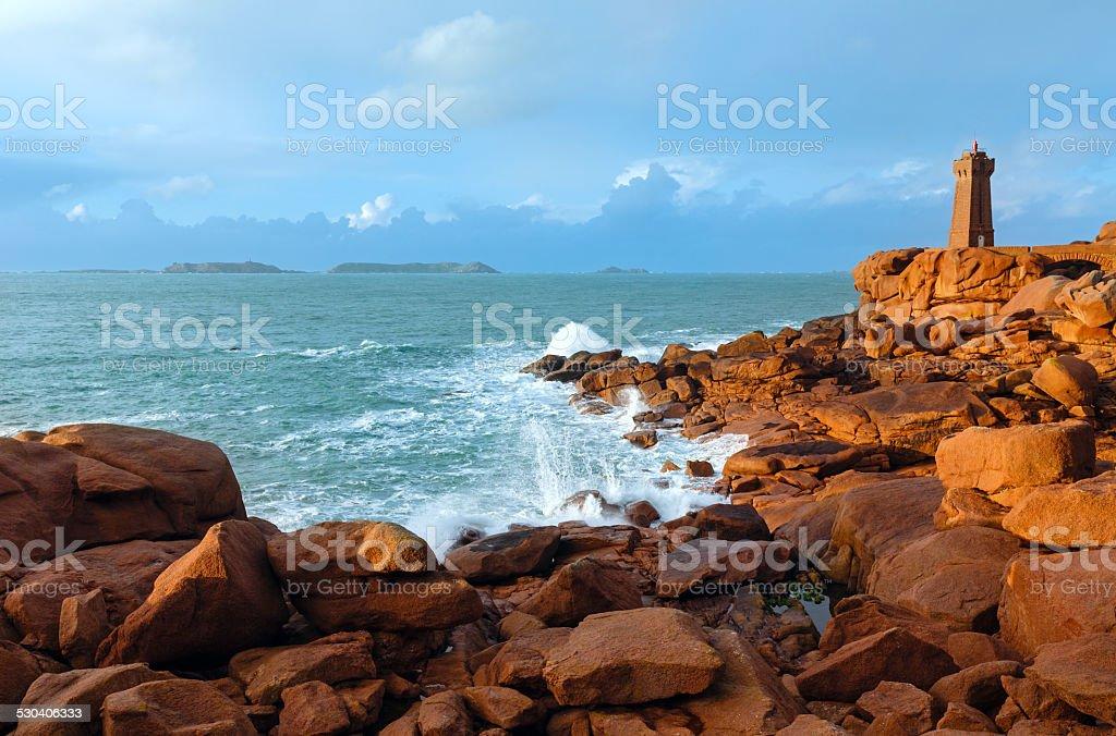 Ploumanach lighthouse stock photo