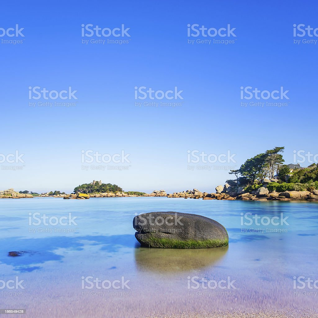 Ploumanach, rock and bay beach in morning, Brittany, France. royalty-free stock photo