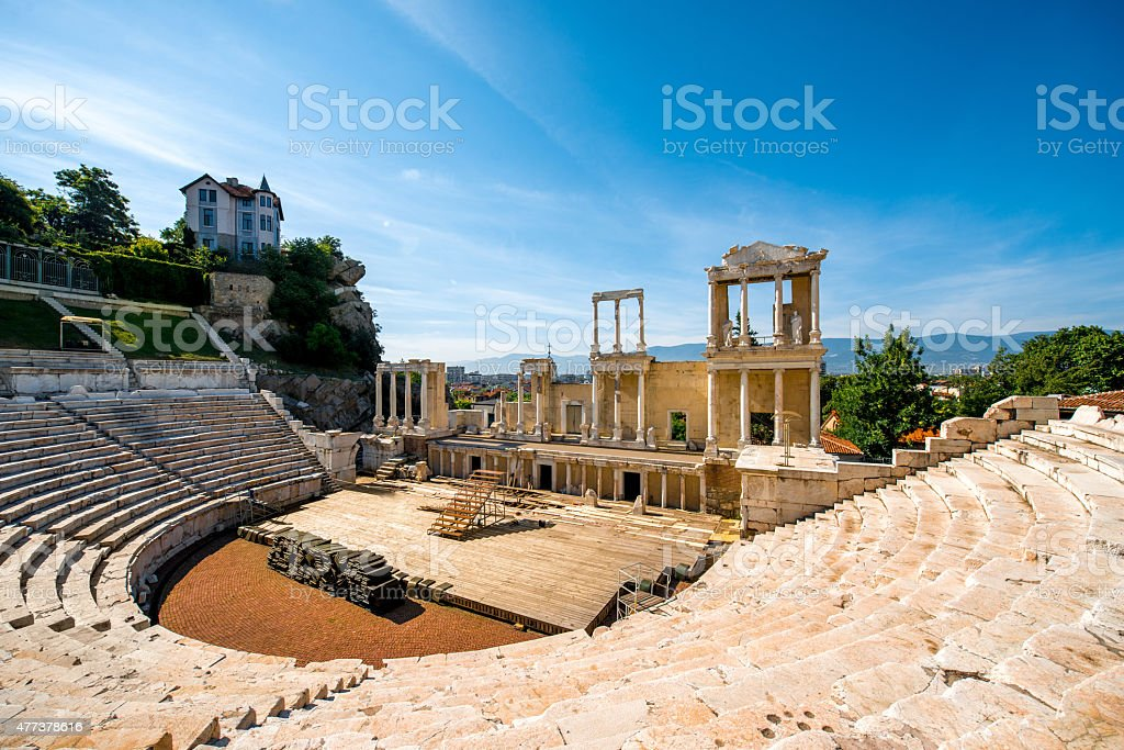 Plovdiv Roman theatre stock photo