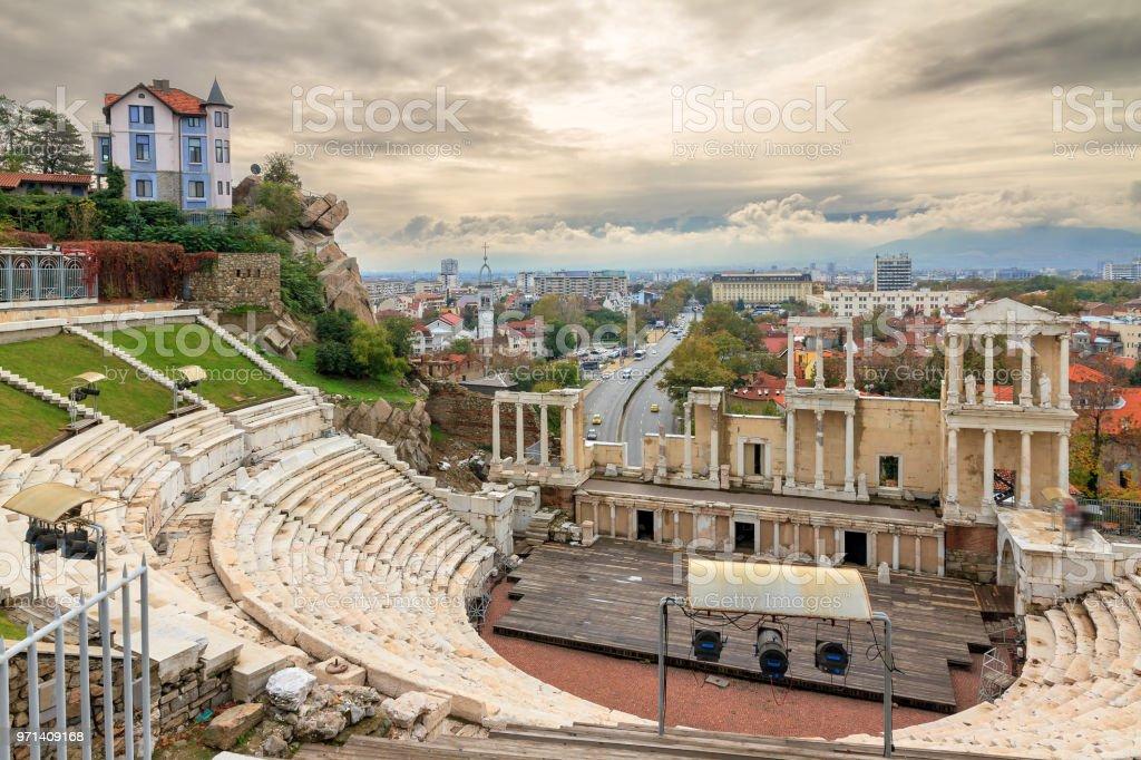 Plovdiv Roman theatre skyline stock photo