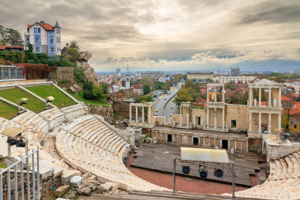 Plovdiv Roman theatre skyline Beautiful cityscape of Plovdiv, Bulgaria, in the medieval part of the city called Old Town, with the ancient Roman theatre bulgaria stock pictures, royalty-free photos & images