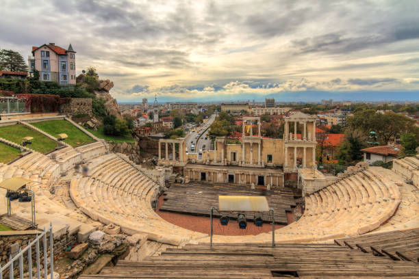 Plovdiv Roman theatre with ominous clouds stock photo