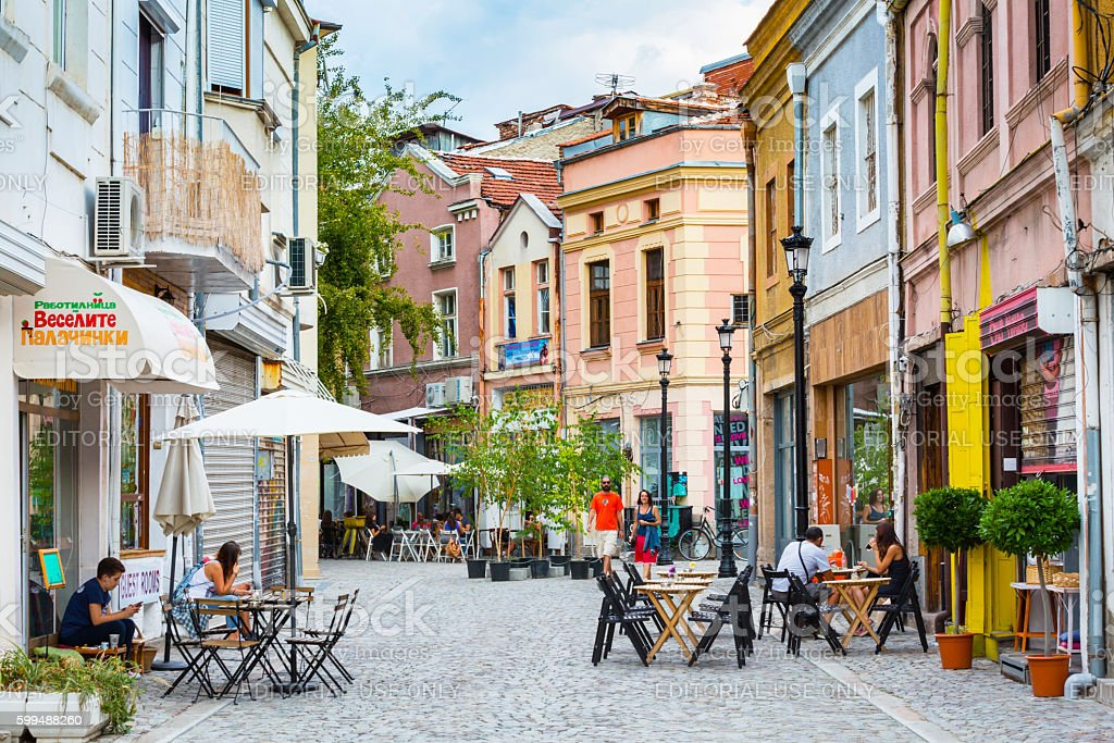 Plovdiv street with cafe and people stock photo