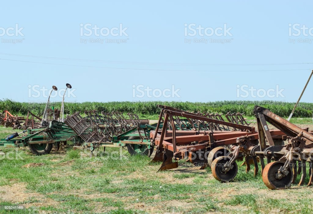 Plow on trailer for tractor. Plow for plowing soil. stock photo