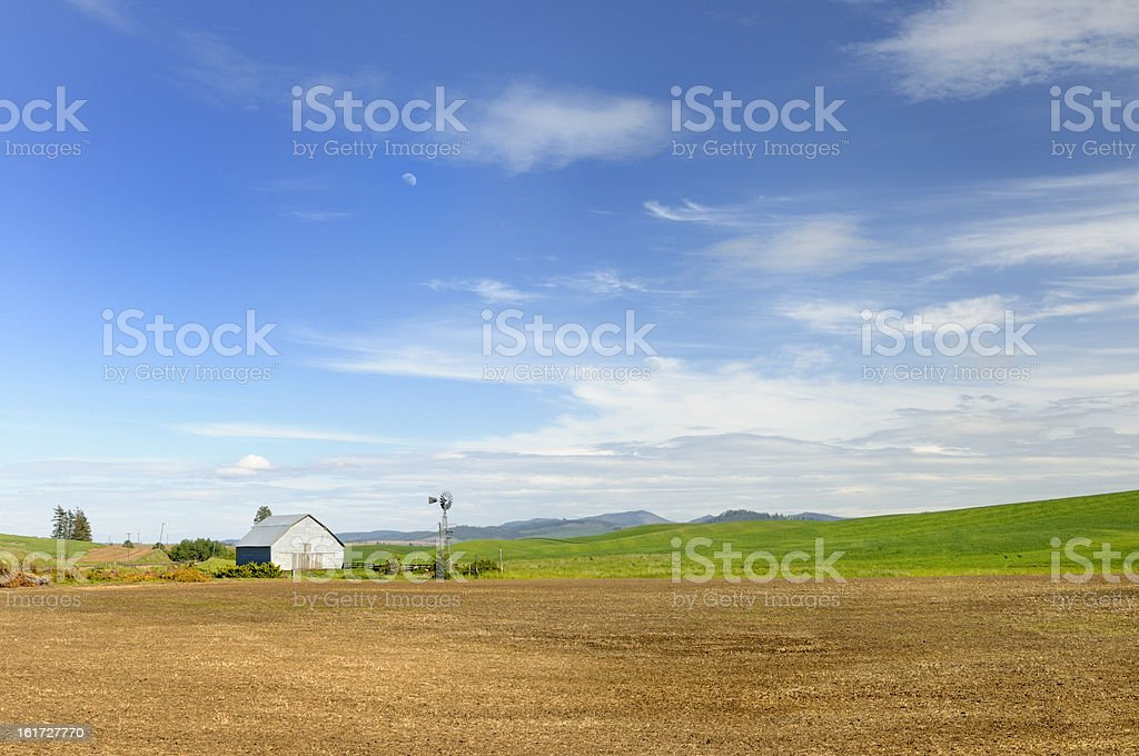 Plowed Farm Field in Spring royalty-free stock photo