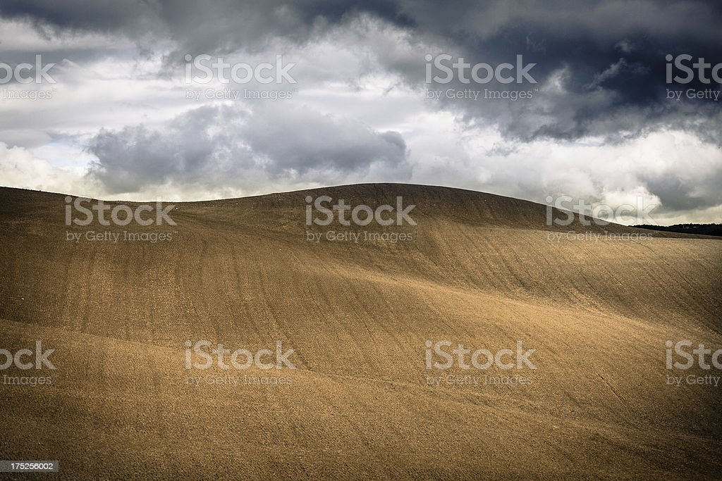 Plowed Field in Tuscany, Chianti Region royalty-free stock photo