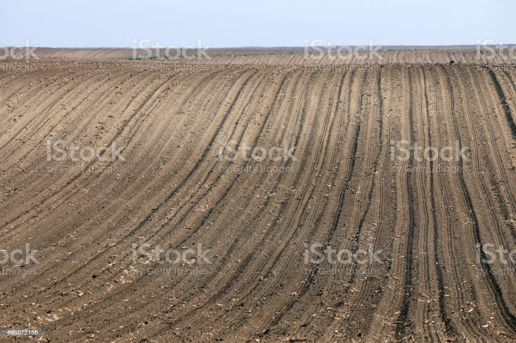 plowed field landscape spring season agriculture 免版稅 stock photo
