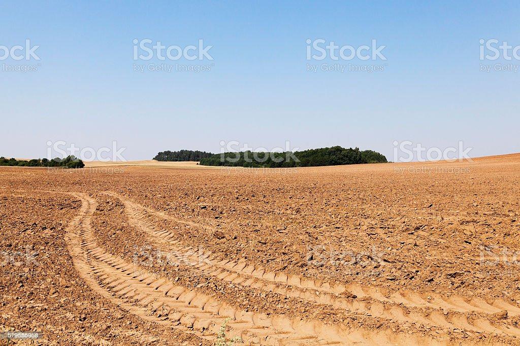 plowed land, summer stock photo