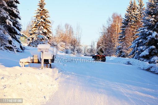 Plowing snow Fairbanks Alaska USA