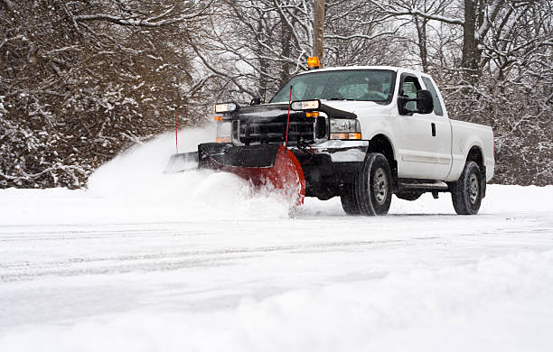 Plowing the Road stock photo
