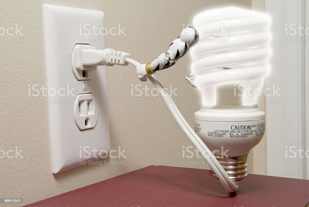 Plugged Light Bulb royalty-free stock photo