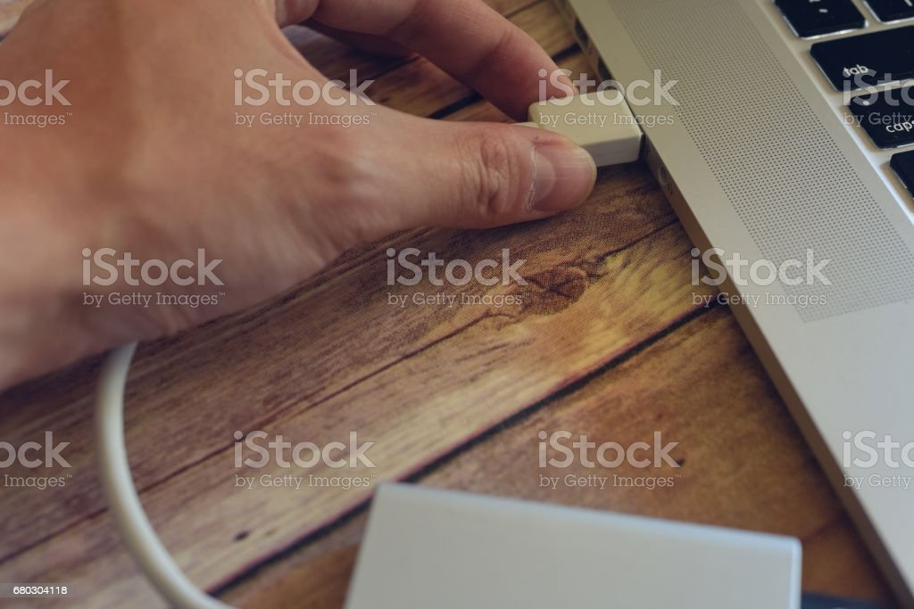 Plugging External Device stock photo