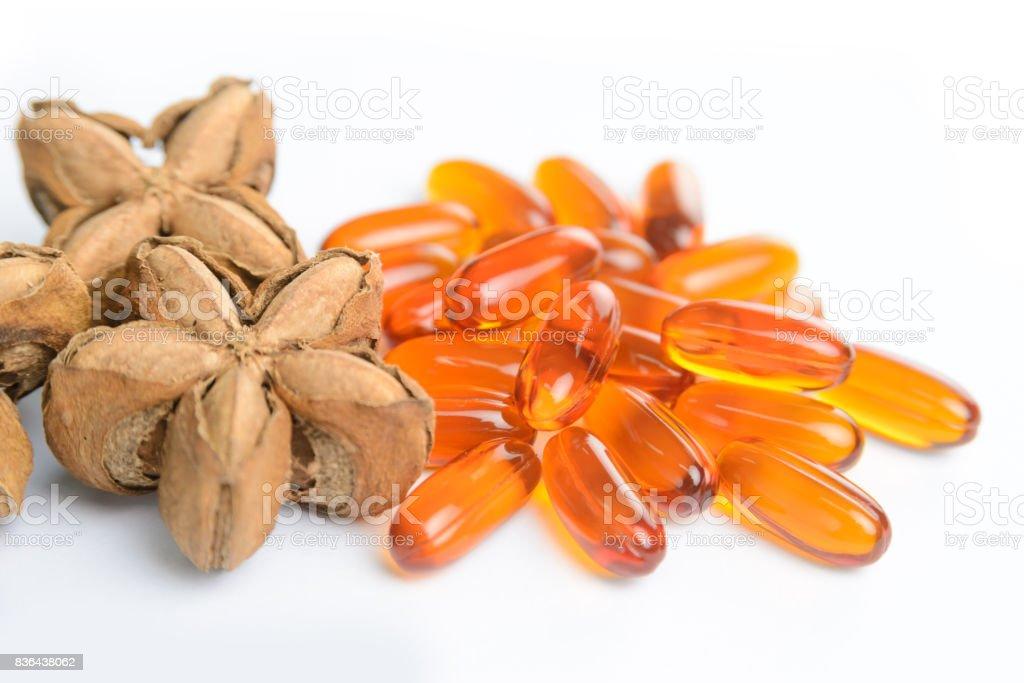 Plukenetia volubilis, sacha peanut, or sacha inchi with soft gels capsules on white background, herb and nature stock photo