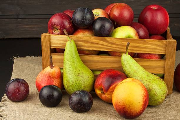 Plum and apples on wooden table. Autumn Fruits. stock photo