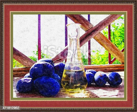 470927602 istock photo Plum brandy (way of painting techniques) 471812952