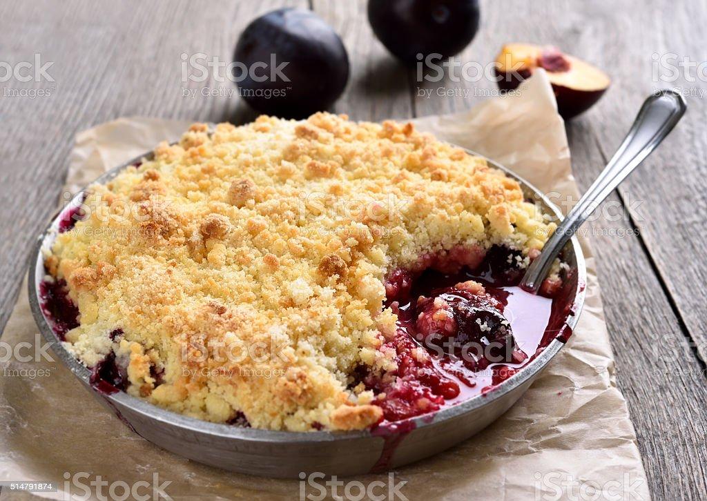 Plum crumb baking stock photo