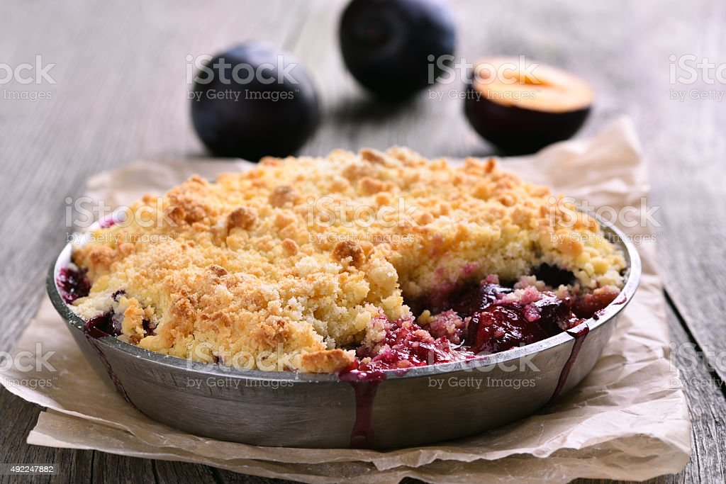 Plum crumb tart stock photo