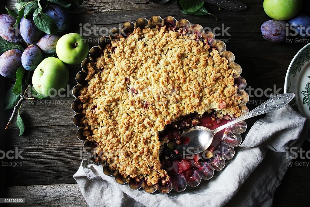 Plum crumble stock photo