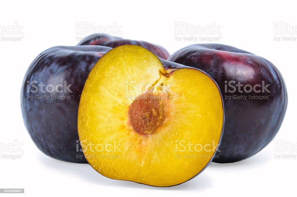 Plum fruit isolated on white background stock photo