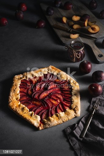 istock Plum galette recipe with red plums ingredients 1281021227