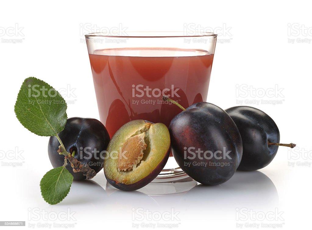 plum juice and fruit stock photo
