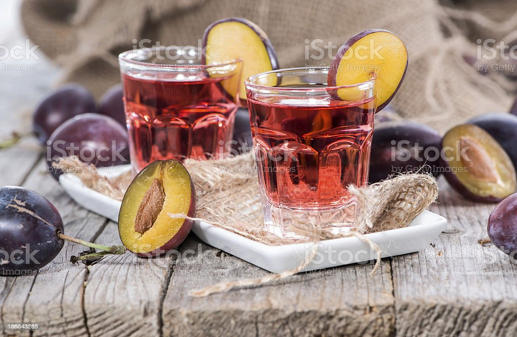 Plum Liqueur Shots royalty-free stock photo