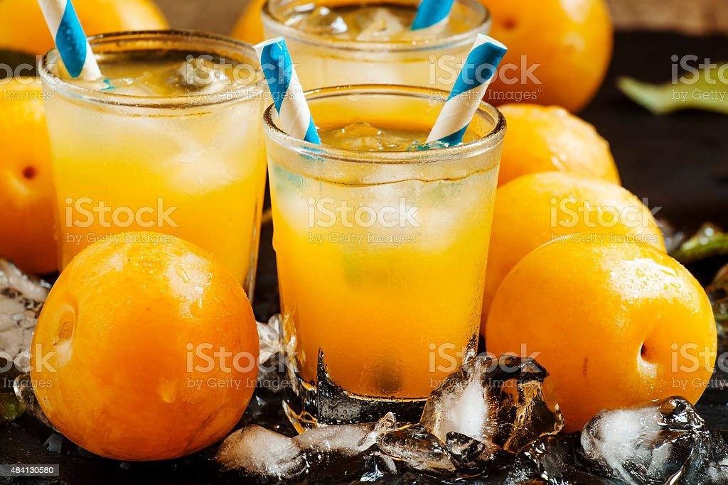 Plum smoothie with ice stock photo