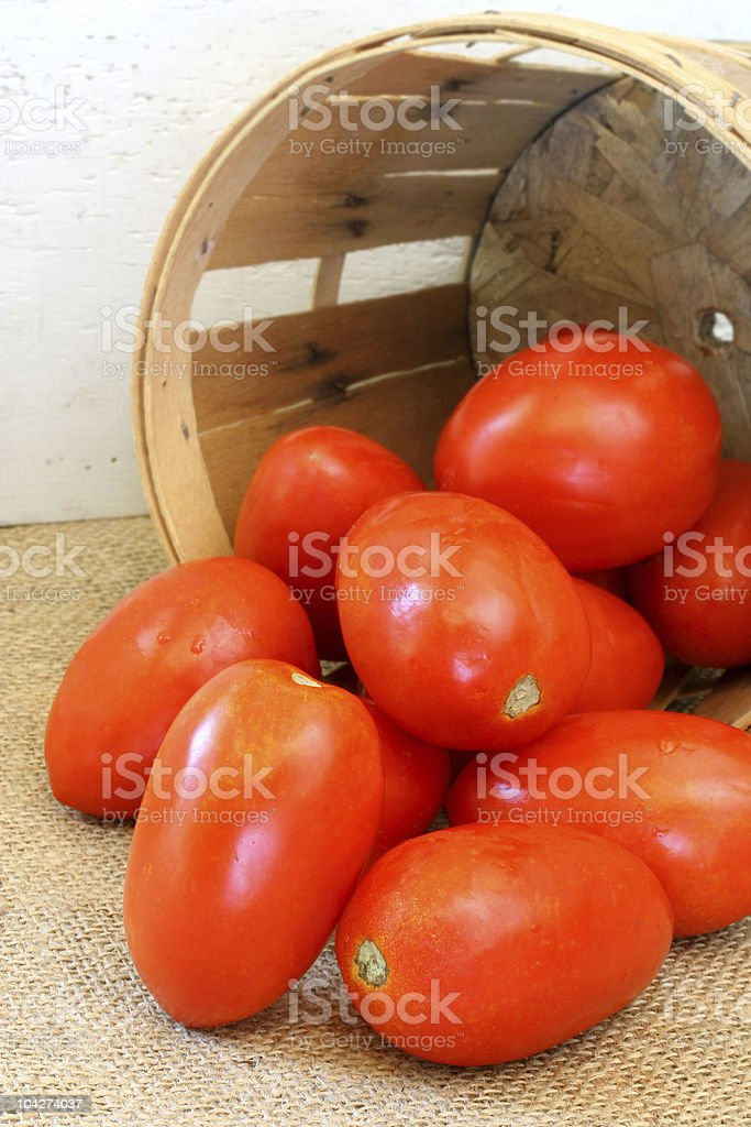 Plum tomatoes and farm basket stock photo