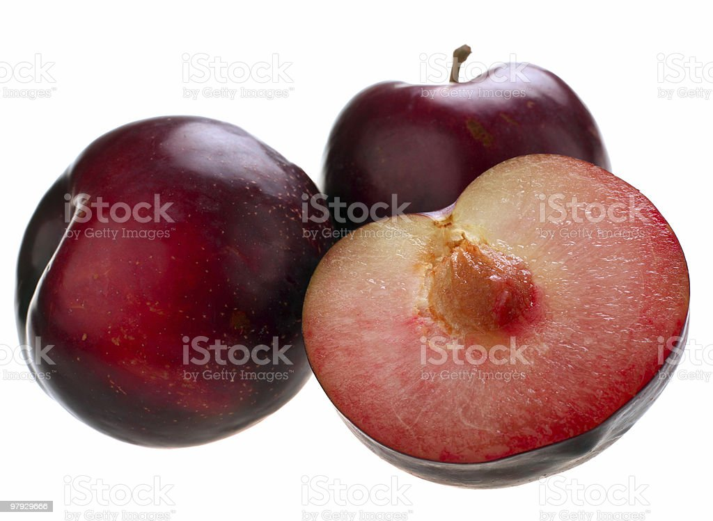 Plum with slice royalty-free stock photo