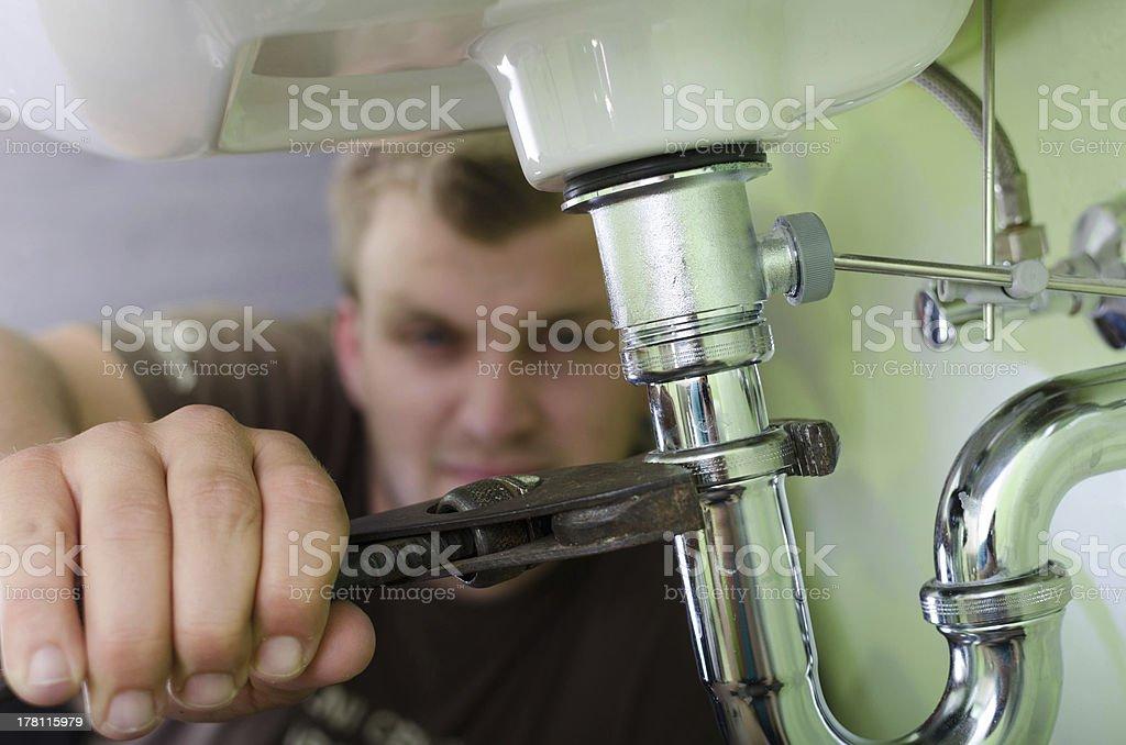 Plumber at work royalty-free stock photo